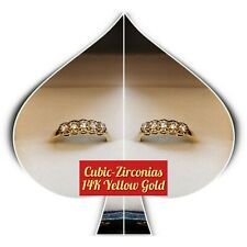 14K YELLOW-GOLD BAND CONSISTING OF 5 ROUND BRILLIANT CUBIC-ZIRCONIAS
