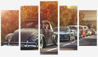 Volkswagen Vw Beetle - Classic Cars Warm Sunset 5 Split Panel Canvas Pictures