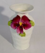 White Porcelain Basketweave Vase / Applied Purple Pansy Flower & Green Leaves
