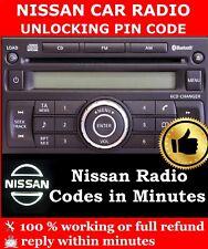 NISSAN QASHQAI JUKE NOTE RADIO CODE STEREO CODES PIN CAR UNLOCK  FAST SERVICE