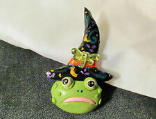 FROG FACE WITCH PIN OOAK Halloween lapel hat jewelry costume brooch accessory