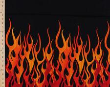 Cotton Fire Flames Blaze Black Border Cotton Fabric Print by the Yard D572.21