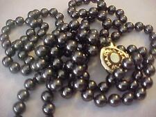 "Vintage Necklace-Pearl-Majorca-single strand-tag-vintage new-52"" long-black pear"