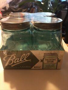 Ball Collector's Edition Aqua Blue One Pint Mason Jars with Bands & Lids 4 Pack