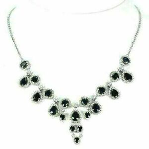 Necklace Blue Sapphire Genuine Natural Gems Sterling Silver Cluster 18 to 20 In