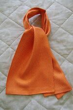 "Macclesfield 100% silk soft twill gentlemans cravat 7"" x 39.5"" orange & white"