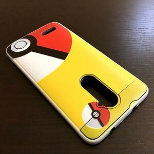 For ZTE ZMAX PRO Z981 - Hybrid Brushed Armor Skin Case Cover Yellow Pokeball
