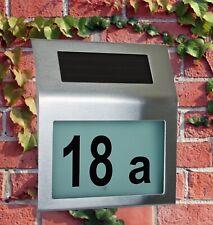 Design Solar LED Hausnummer Edelstahl - Hausnummerleuchte Schild Solarhausnummer