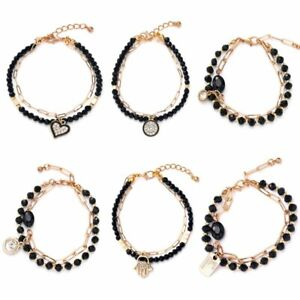 Fashion Double layer Crystal Chain Bracelet Adjustable Bangle Women Jewelry Gift