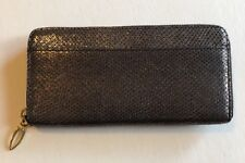NWT Beautiful Zip Around Tusk Silver Snake Leather Wallet