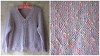 *Rainbow~Cupcake~Sprinkles* Polka Dot Lilac Crochet Lace Hand Made Knit Cardigan