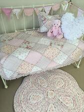 4 pc Angads Girls Tara Cot Crib Coverlet Cushion Floor Rug Bunting Nursery Decor