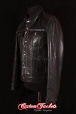 Men's TRUCKER Leather Jacket Black Classic Shirt Style Western Cowhide Jacket