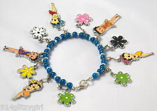 "#202 Betty Boop ""FLOWER POWER"" 11-Charm Apatite Gemstone Charm Bracelet 8½"""