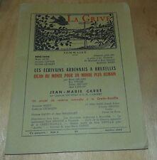 ARDENNES CAHIERS DE LA GRIVE N° 99 ECRIVAINS ARDENNAIS A BRUXELLE 1958