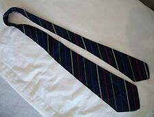 "Vintage NECKTIE 42""- Royal Blue w Silver-Red-Green-Lt Blue Stripe--mens tie"