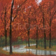 """35W""""x35H"""" AUTUMN STREAM by LYNN KRAUSE COLORFUL TREES IN FOREST FALL CANVAS"""