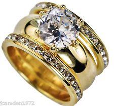 Ladies Round 6.5 Carat 3 Ring Wedding Set 18K Yellow Gold Overlay Size 7