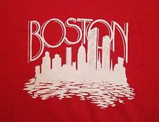 Vintage Boston Massachusetts Skyline 80's Red T Shirt M