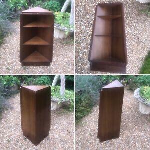 🌟Mid Century Modern Retro Vintage Wooden Triangular Corner Book Shelf Case Unit