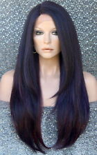 HEAT OK Lace Front WIG Realistic Layered Straight Hairpiece WU Purple Burgundy