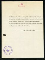 1960 REJECTION LETTER FOR THE AUTOGRAPH OF THE KING OF BELGIUM WITH COVER