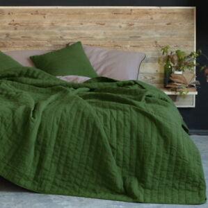 Solid Linen Quilt | Linen Bedspread | Linen Coverlet (Dark Green)