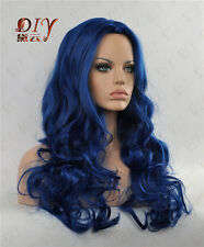 """Blue Fluffy Long Curly Wig Full Hair Wigs 24"""" Cosplay Heat Resistant Party Wigs"""
