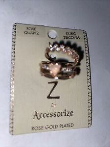 BNWT ROSE GOLD PLATED RINGS WITH ROSE QUARTZ & CUBIC ZIRCONIA SIZE M