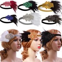 Vintage Black Feather Silver 20s Headpiece 1920s Flapper Headband Downton Abbey