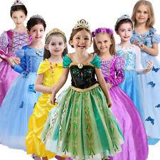 Kid Girl's Princess Costume Fairytale Dress Up Aurora Rapunzel Belle Cinderella