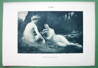 NUDE Ladies Gossipping on River Bank - VICTORIAN Lichtdruck Print