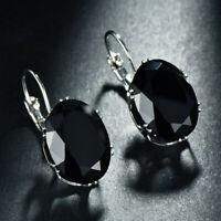 Cool ! Huge Oval Cut Black Onyx Gemstone Silver Woman Dangle Hook Earrings