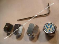 VW VOLKSWAGEN Four Blue  and Silver Locking Valve Tyre Tire Dust Caps