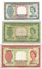 Malaya And British Borneo Lot 1 5 10 Dollars 1953 P1 P2 P3 Queen Elizabeth Rare