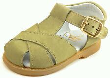 DE OSU/FARO -SPAIN - Baby Boys Kahki Leather Fisherman Sandals - Euro 19 Size 4