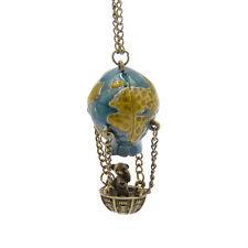 Women Vintage Hot Air Balloon Adventurer Globe Pendant Necklace Sweater Chain