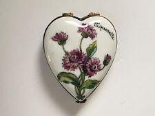 Limoges France Peint a La Main Porcelain Trinket Box French Flowers Versailles