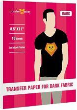 Printable Iron On Heat Transfer Paper For Dark Cotton T Shirt Inkjet 10 Sheets