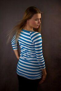 JOBLOT Of 20 x LoveCassy Maternity top Blue/White Stripe size 8 -16