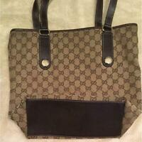 Auth Gucci Shoulder bag Tote GG Canvas Monogram USED Brown Women Purse G0462