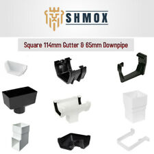Square Guttering 114mm & Downpipe 65mm Fittings| BLACK | WHITE | ANTHRACITE GREY