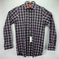 Tallia Mens Classic Fit Check Plaid Button Down Dress Shirt Purple 15 34/35