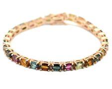 14k Rose Gold Plating Natural Tourmaline Gemstone 925 Silver Tennis Bracelet