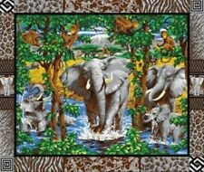 Elephants Monkeys & Giraffes on Grey Large Quilt Fabric Panel
