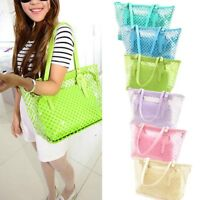 Women Transparent Handbag Shoulder Bag Clear Jelly Purse Clutch PVC Tote Bags