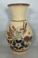Mexico Clay Pottery Vase with Bird and floral pattern