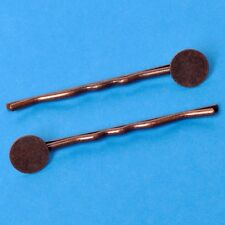 20 Bronze Tone Bobby Pins Hair Clips With Glue Pad
