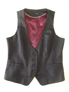 Ladies waistcoat NEXT Size 14 Grey Red LIning Piping V Good cond Christmas VR1
