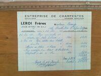 Facture - Leroi frères - Charpentes escaliers hangars agricoles Joué Etiau 1959